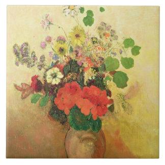 Florero de las flores, c.1908-10 (aceite en lona) azulejo cuadrado grande