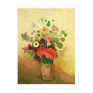 Florero de las flores c 1908-10 aceite en lona tarjetas postales
