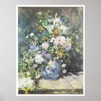 Florero de las flores, Pierre-Auguste Renoir 1886 Póster