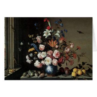 Florero de las flores por una ventana, Balthasar Tarjeta De Felicitación