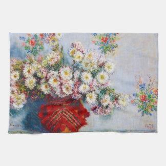 Florero de los crisantemos Claude Monet Toallas De Cocina