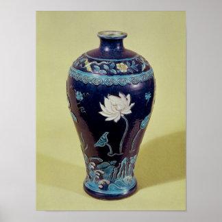Florero de Ming con la decoración tricolor Póster