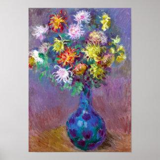 Florero de Monet de la impresión de las flores del