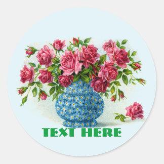Florero de pegatinas rosados de los rosas pegatina redonda