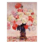Florero de Peonies de Claude Monet Postal