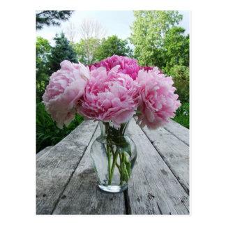 Florero de Peonies rosados Tarjetas Postales