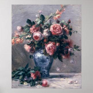 Florero de rosas póster