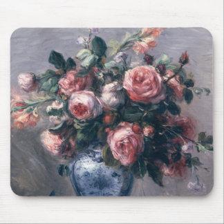 Florero de rosas tapetes de ratón