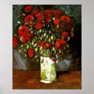 Florero de Van Gogh con bella arte roja de las ama Posters