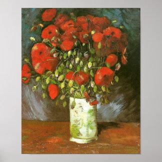 Florero de Van Gogh con bella arte roja de las ama Impresiones