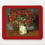 Florero de Van Gogh con bella arte roja de las ama Tapete De Ratones