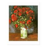 Florero de Van Gogh con bella arte roja de las ama Postales