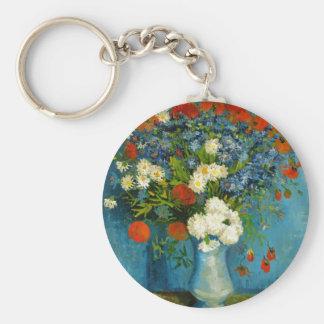 Florero de Van Gogh con Cornflowers y amapolas Llavero Redondo Tipo Pin