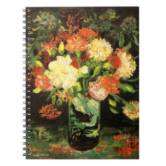 Florero de Van Gogh con el cuaderno de los clavele