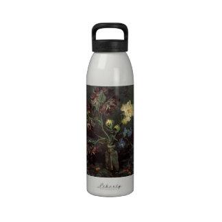 Florero de Van Gogh con el Myosotis y los Peonies Botellas De Agua Reutilizables