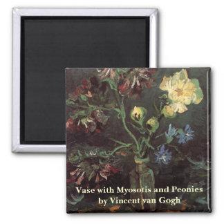 Florero de Van Gogh con el Myosotis y los Peonies Imán Cuadrado