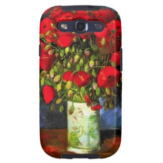 Florero de Van Gogh con la caja roja de la galaxia Galaxy SIII Cárcasas
