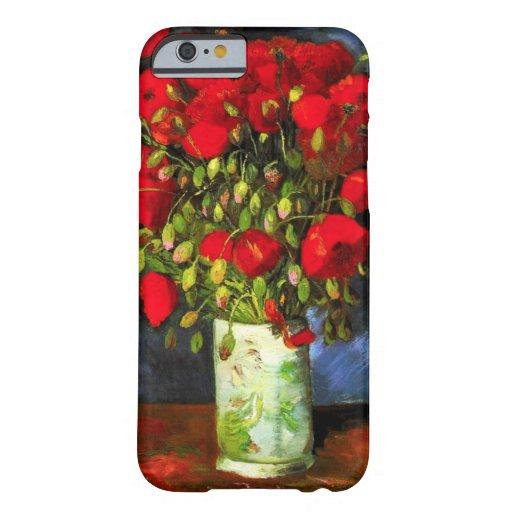Florero de Van Gogh con la caja roja del iPhone 6 Funda De iPhone 6 Barely There