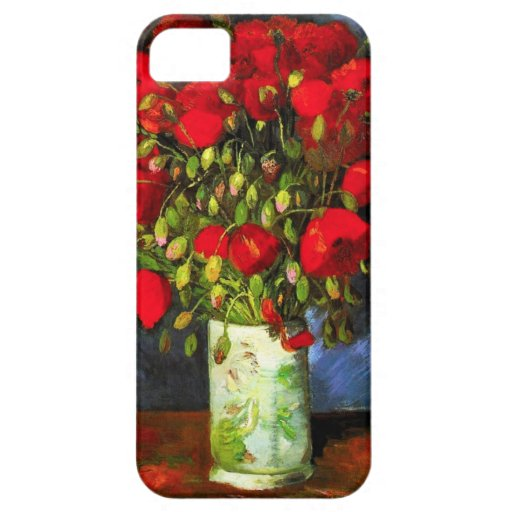 Florero de Van Gogh con la caja roja del iPhone de iPhone 5 Case-Mate Carcasa