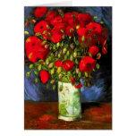 Florero de Van Gogh con la tarjeta de nota roja de