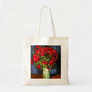 Florero de Van Gogh con las amapolas rojas Bolsa Tela Barata