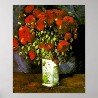 Florero de Van Gogh con las amapolas rojas (F279) Posters