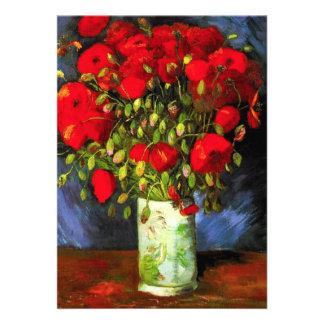Florero de Van Gogh con las amapolas rojas Invitacion Personal