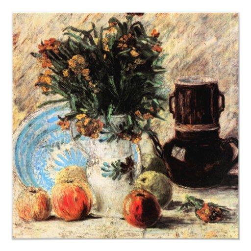 """Florero de Van Gogh con las flores, la cafetera y Invitación 5.25"""" X 5.25"""""""