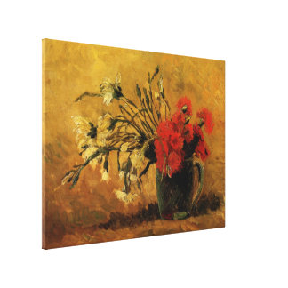 Florero de Van Gogh con los claveles blancos rojos Impresiones En Lienzo Estiradas