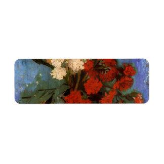 Florero de Van Gogh con los claveles y otras Etiquetas De Remite