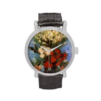 Florero de Van Gogh con los claveles y otras Reloj