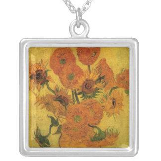 Florero de Van Gogh con los girasoles, flores de Colgante Cuadrado