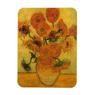 Florero de Van Gogh con los girasoles, flores de Imanes