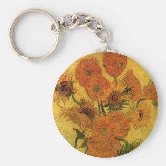Florero de Van Gogh con los girasoles, flores de Llavero Redondo Tipo Pin