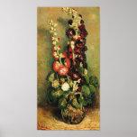 Florero de Van Gogh con los Hollyhocks Impresiones