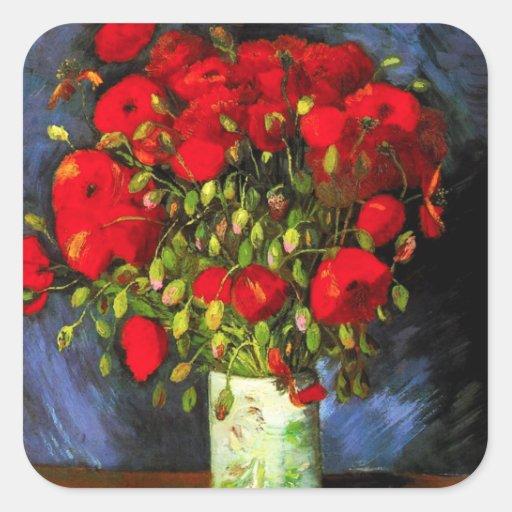 Florero de Van Gogh con los pegatinas rojos de las Calcomanias Cuadradas