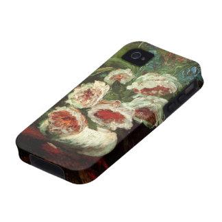 Florero de Van Gogh con los Peonies flores floral iPhone 4 Carcasas