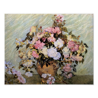 Florero de Van Gogh con los rosas Posters