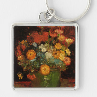 Florero de Van Gogh con los Zinnias, flores Llavero Cuadrado Plateado