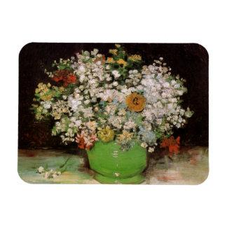 Florero de Van Gogh con los Zinnias y las flores, Iman Flexible
