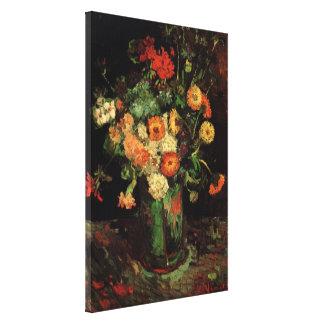 Florero de Van Gogh con Zinnias y bella arte de Lienzo Envuelto Para Galerías