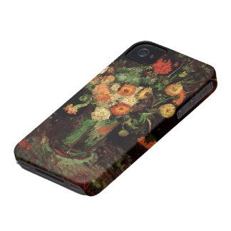 Florero de Van Gogh con Zinnias y flores del Case-Mate iPhone 4 Fundas