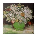 Florero de Van Gogh con Zinnias y otras flores Azulejo