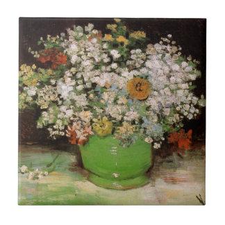 Florero de Van Gogh con Zinnias y otras flores Azulejo Cuadrado Pequeño