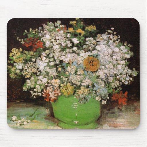 Florero de Van Gogh con Zinnias y otras flores Alfombrillas De Ratón
