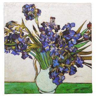 Florero de Van Gogh de servilletas de los iris