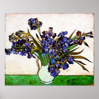 Florero de Van Gogh del poster de los iris Póster