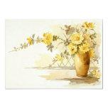 Florero de vida todavía de los rosas amarillos invitación 12,7 x 17,8 cm