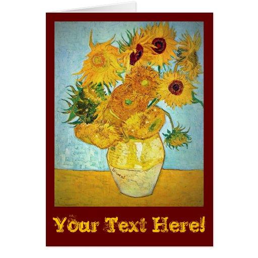 Florero de Vincent van Gogh con 12 girasoles custo Felicitaciones