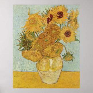 Florero de Vincent van Gogh con 12 girasoles Póster